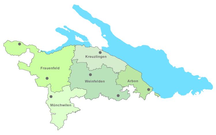 Karte mit Bezirken